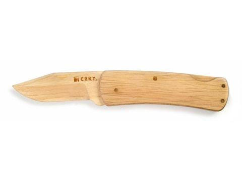 """CRKT Nathan's Knife Kit Folding Pocket Knife 3.25"""" Wood Blade Wood Handle Unfinished"""