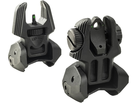 Meprolight FRBS Flip-Up Night Sight Set AR-15 2-Dot Rear Tritium Green Polymer Black