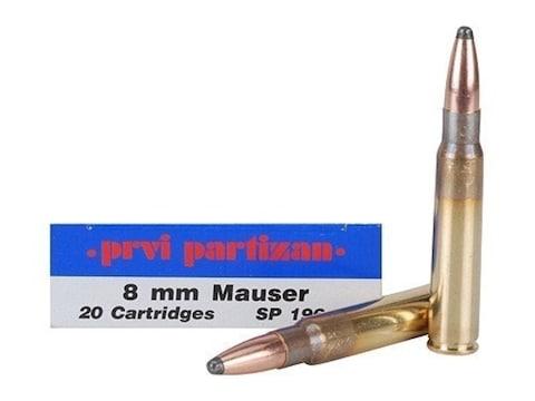 Prvi Partizan Ammunition 8x57mm JS Mauser (8mm Mauser) 196 Grain Soft Point Box of 20