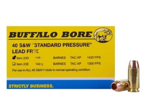Buffalo Bore Ammunition 40 S&W 125 Grain Barnes TAC-XP Hollow Point Lead-Free Box of 20