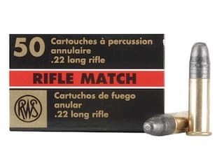 RWS Rifle Match Ammunition 22 Long Rifle 40 Grain Lead Round Nose Box of 50