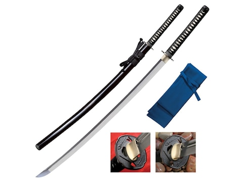 "Cold Steel Warrior Series O Katana Sword 36"" Clip Point 1060 Carbon Satin Blade Ray Ski..."