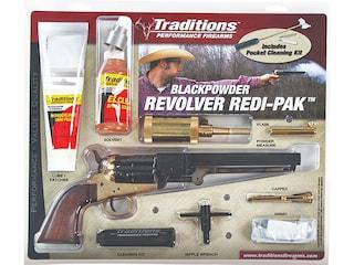 "Traditions 1851 Navy Redi-Pak Black Powder Revolver 44 Caliber 7.375"" Blued Barrel Brass Frame Walnut Grips"