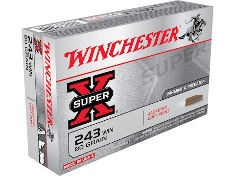 Winchester Super-X Ammunition 243 Winchester 80 Grain Pointed Soft Point Box of 20