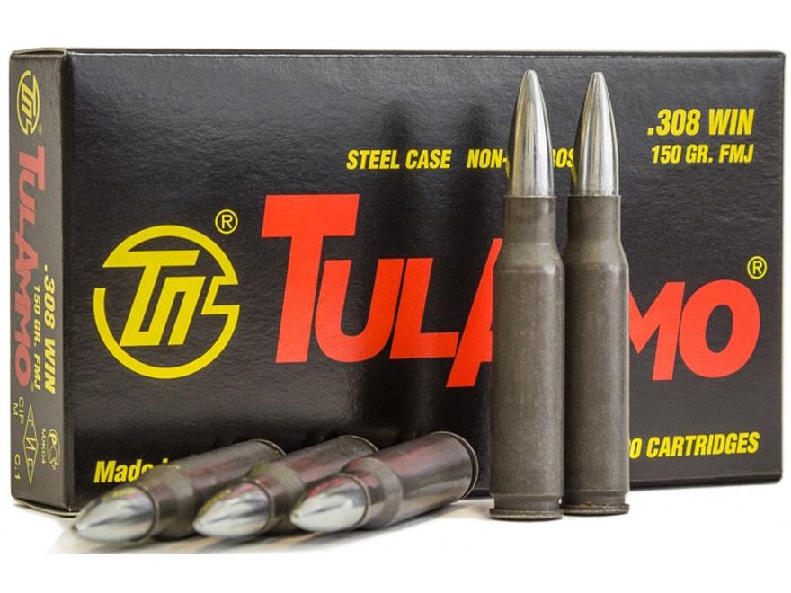 TulAmmo Ammo 308 Winchester 150 Grain Full Metal Jacket Steel Case