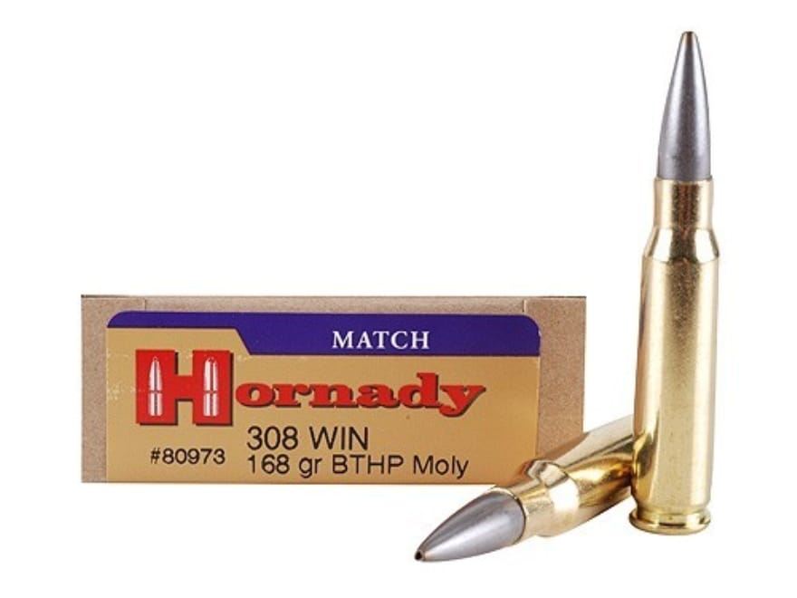 Hornady Match Ammo 308 Winchester 168 Grain Hollow Point Boat Tail