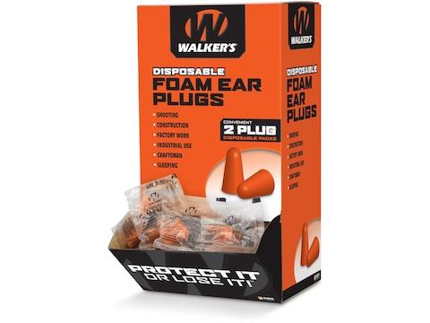 Walker's Foam Ear Plugs (NRR 32dB) Box of 200 Pairs Orange