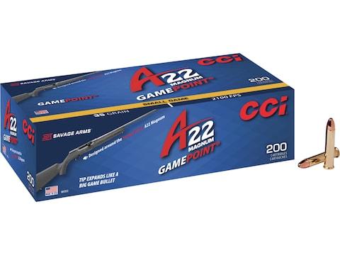 CCI A22 Ammunition 22 Winchester Magnum Rimfire (WMR) 35 Grain GamePoint Jacketed Soft ...