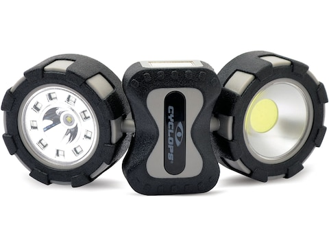 Cyclops Work Lamp with Tri-light LED with 6 AAA Batteries Polymer Black