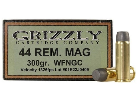 Grizzly Ammunition 44 Remington Magnum 300 Grain Cast Performance Lead Wide Flat Nose G...