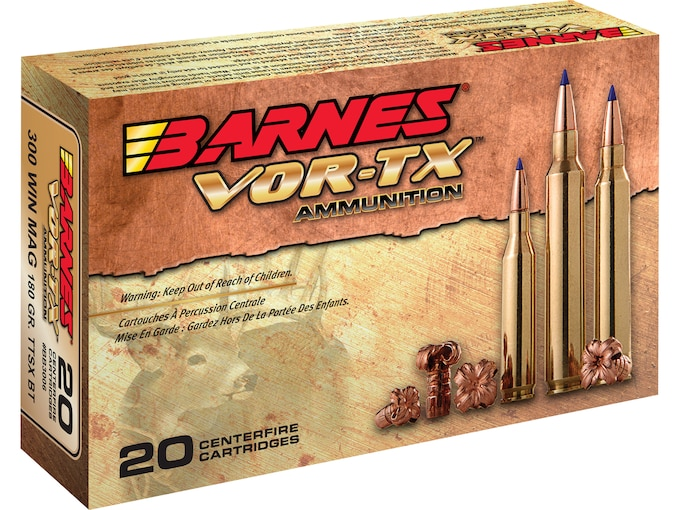 Barnes VOR-TX Ammunition 300 Winchester Magnum 180 Grain TTSX Polymer Tipped Spitzer Boat Tail Lead-Free Box of 20