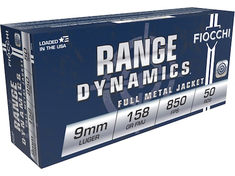 Fiocchi Range Dynamics Ammunition 9mm Luger Subsonic 158 Grain Full Metal Jacket Box of 50