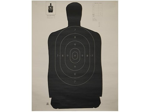 """NRA Official Silhouette Targets B-27 (35"""") 50 Yard Paper Black/White Pack of 100"""