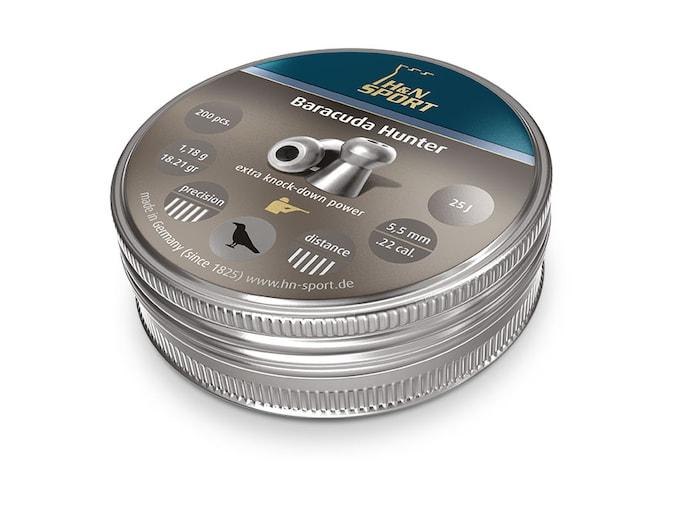 H&N Baracuda Hunter Pellets 22 Caliber 18.21 Grain 5.5mm Head-Size Hollow Point Tin of 200