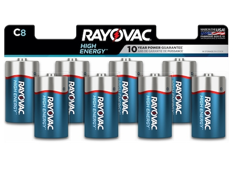 Rayovac High Energy Battery C 1.5 Volt Alkaline Pack of 8
