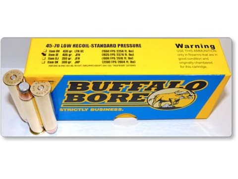 Buffalo Bore Ammunition 45-70 Government 405 Grain Jacketed Flat Nose Low Recoil Standa...