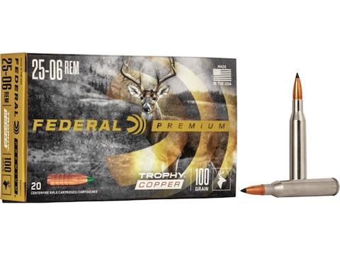 Federal Factory Second Ammunition 25-06 Remington 100 Grain Trophy Copper Tipped Boat T...