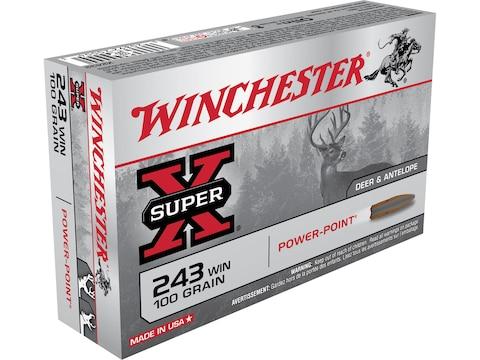 Winchester Super-X Ammunition 243 Winchester 100 Grain Power-Point Box of 20