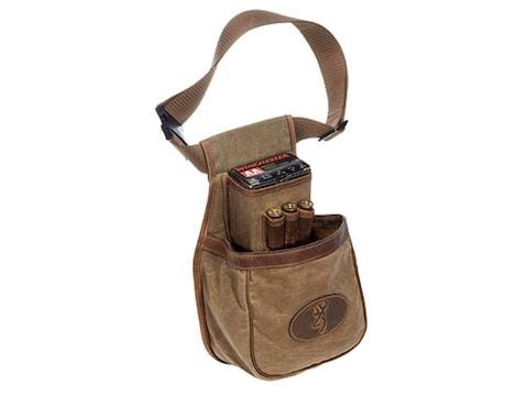 Browning Santa Fe Shotgun Shell Pouch with 3 Choke Tube Loops Waxed Cotton Canvas Tan