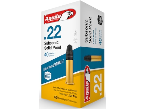 Aguila SuperExtra Ammunition 22 Long Rifle Subsonic 40 Grain Lead Round Nose