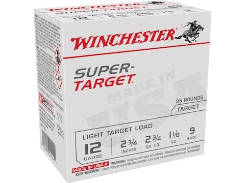 """Winchester Super-Target Ammunition 12 Gauge 2-3/4"""" 1-1/8 oz #9 Shot"""