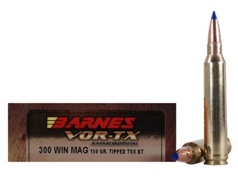 Barnes VOR-TX Ammunition 300 Winchester Magnum 150 Grain TTSX Polymer Tipped Spitzer Bo...