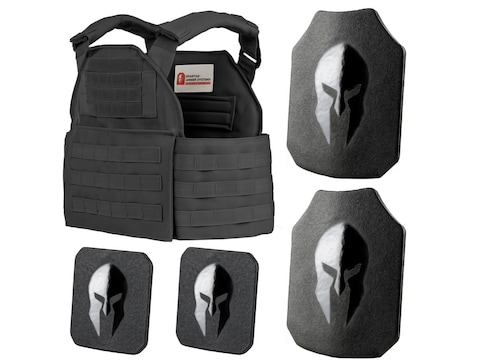 Spartan Armor Spartan Plate Carrier with AR550 Body Armor Ballistic Plate III+ Single C...
