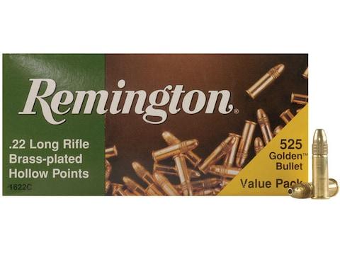 Remington Golden Bullet Ammunition 22 Long Rifle 36 Grain Plated Lead Hollow Point Bulk