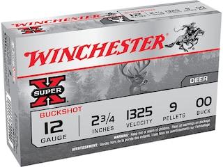 """Winchester Super-X Ammunition 12 Gauge 2-3/4"""" Buffered 00 Buckshot 9 Pellets Box of 5"""