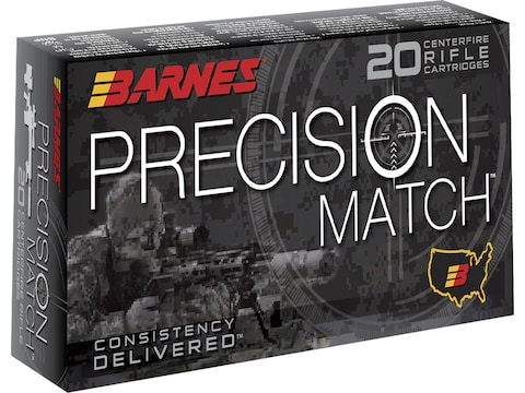 Barnes Precision Match Ammunition 308 Winchester 175 Grain Open Tip Match Box of 20