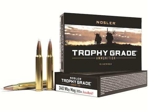 Nosler Trophy Grade Ammunition 340 Weatherby Magnum 300 Grain AccuBond Long Range Box o...
