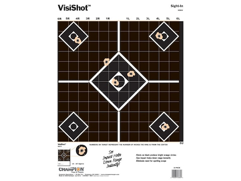 """Champion VisiShot Sight-In Targets 13"""" x 18"""" Paper Pack of 10"""