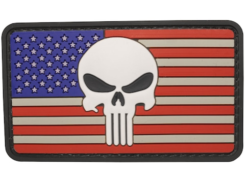 """5ive Star Gear US Flag Punisher PVC Morale Patch Red, White, and Blue 2"""" x 3"""""""