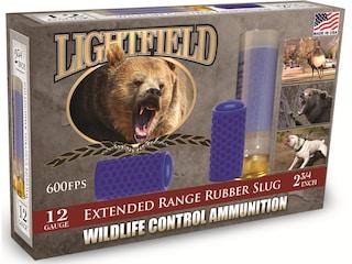"Lightfield Wildlife Control Less Lethal Ammunition 12 Gauge 2-3/4"" Extended Range Rubber Slug Box of 5"