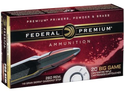 Federal Premium Ammunition 260 Remington 140 Grain Sierra GameKing Soft Point Boat Tail...