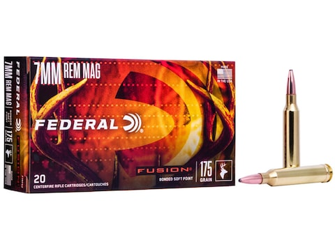 Federal Fusion Ammunition 7mm Remington Magnum 175 Grain Bonded Spitzer Boat Tail Box o...