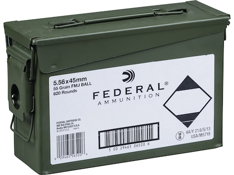 Federal Ammunition 5.56x45mm NATO 55 Grain Full Metal Jacket Ammo Can of 820