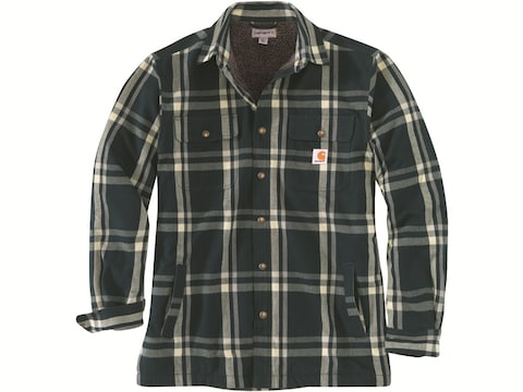 Carhartt Men's Relaxed Fit Sherpa Lined Snap-Front Flannel Long Sleeve Shirt