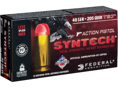 Federal Syntech Action Pistol Ammunition 40 S&W 205 Grain Total Synthetic Jacket Box of 50