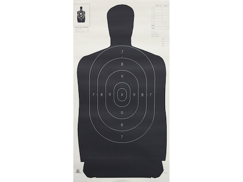 "NRA Official Silhouette Targets B-27 (24"") 50 Yard Paper Black/White Pack of 100"
