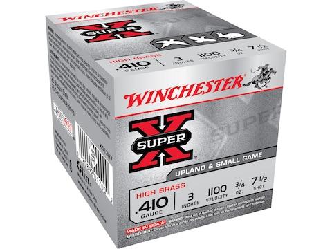 "Winchester Super-X High Brass Ammunition 410 Bore 3"" 3/4 oz #7-1/2 Shot Box of 25"