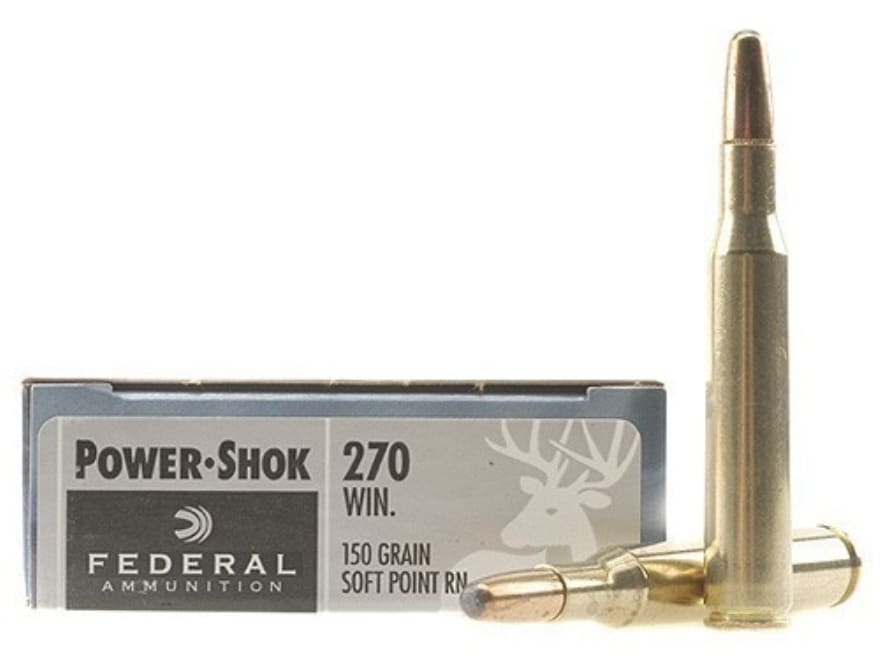 Federal Power-Shok Ammo 270 Winchester 150 Grain Round Nose Soft Point
