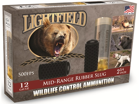"Lightfield Wildlife Control Less Lethal Ammunition 12 Gauge 2-3/4"" Mid-Range Rubber Slu..."