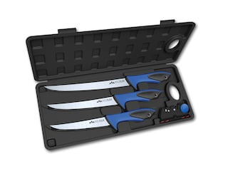 Outdoor Edge Reelflex Pak Fixed Blade Fillet Knifes 3- Pack TPR Handle Blue with Black Rubber Inserts