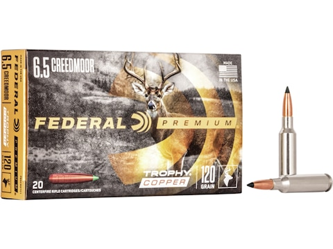 Federal Premium Ammunition 6.5 Creedmoor 120 Grain Trophy Copper Tipped Boat Tail Lead-...