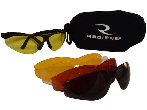 Radians T-85 Shooting Glasses Kit Black Frame Clear Smoke Amber Orange and Copper Lenses
