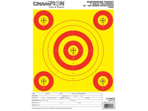 "Champion ShotKeeper 5 Small Bullseye Targets 8.5"" x 11"" Paper Yellow/Red Bull Package o..."