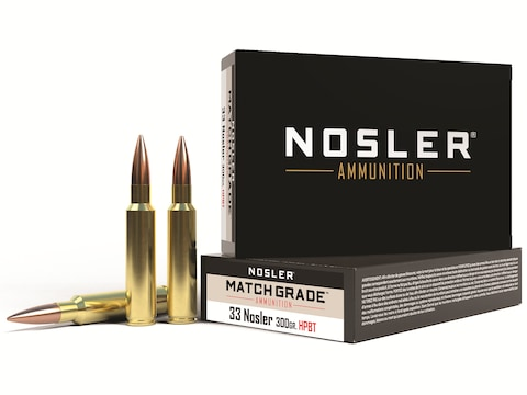 Nosler Match Grade Ammunition 33 Nosler 300 Grain Custom Competition Hollow Point Boat ...