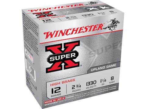 """Winchester Super-X High Brass Ammunition 12 Gauge 2-3/4"""" 1-1/4 oz #8 Shot"""