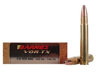 Barnes VOR-TX Safari Ammunition 416 Remington Magnum 400 Grain TSX Hollow Point Flat Base Lead-Free Box of 20